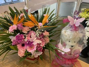 Superior pink Hatbox with Soft Toy and Baloon.£65